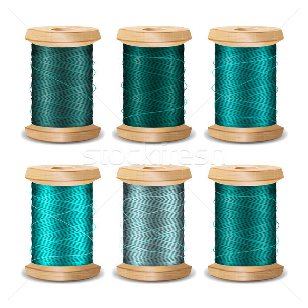 Thread Spool Set. Bright Old Wooden   Bobbin. Isolated On White Background For Needlework And Needle Stock photo © pikepicture