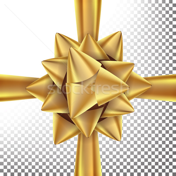 Gift Bow Vector. Bright Gold Ribbon. Isolated On Transparent Background Illustration. Stock photo © pikepicture