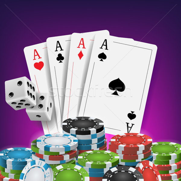 Casino Poker Design Vector. Poker Cards, Chips, Playing Gambling Cards. Royal Casino Retro Poker Clu Stock photo © pikepicture