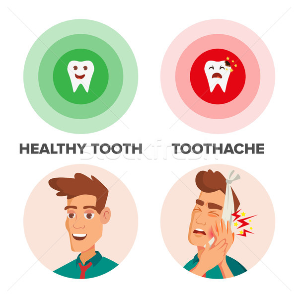 Healthy Tooth And Toothache Vector. Man With Toothache And Bandage. Concept For Dentist, Diseases, T Stock photo © pikepicture