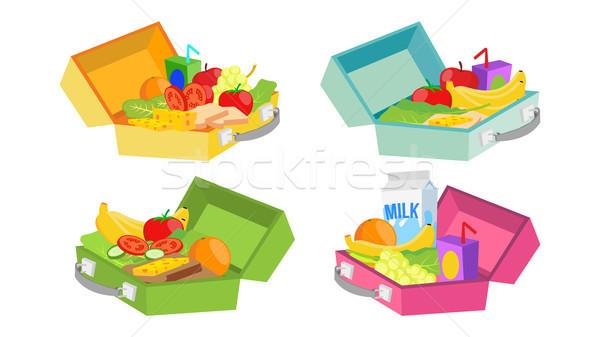 Stockfoto: Lunch · dozen · ingesteld · vector · ingrediënten