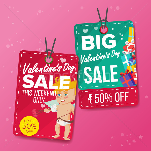 Valentine s Day Sale Tags Vector. Colorful Shopping Discounts Stickers. Cupid. Love Discount Concept Stock photo © pikepicture