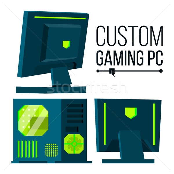 Custom Gaming PC Vector. Modern Custom Build Personal Computer. Hardline Liquid Beautiful Case Desig Stock photo © pikepicture