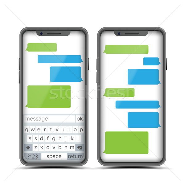 Social Messenger Vector. Speech Bubbles Constructor. Realistic Modern Mobile Application Messenger I Stock photo © pikepicture