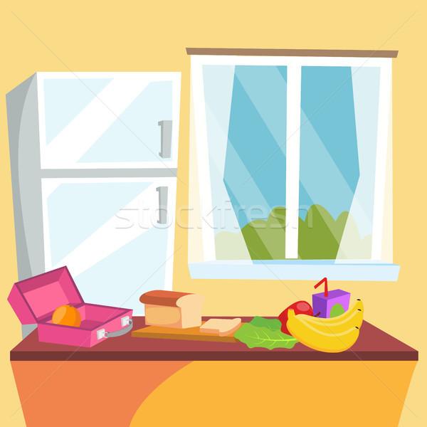 Foto stock: Cozinha · desenho · animado · vetor · clássico · casa · sala · de · jantar