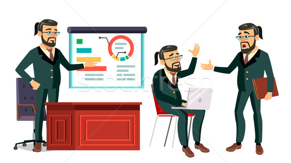 Baas werken karakter vector bebaarde mannelijke Stockfoto © pikepicture