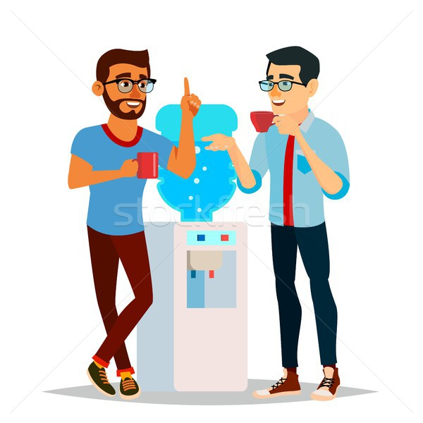 Water Cooler Gossip Vector. Modern Office Water Cooler. Laughing Friends, Office Colleagues Men Talk Stock photo © pikepicture