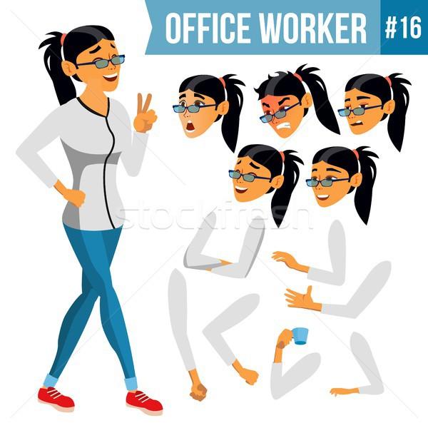 Office Worker Vector. Woman. Modern Employee, Laborer. Business Worker. Face Emotions, Various Gestu Stock photo © pikepicture