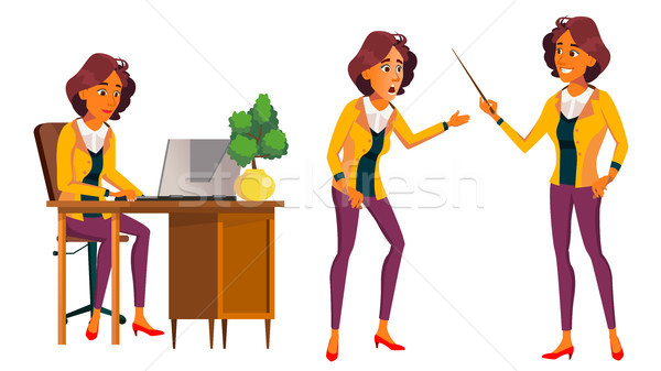 Office Worker Vector. Woman. Modern Employee, Laborer. Front, Side View. Business Woman. Situations. Stock photo © pikepicture