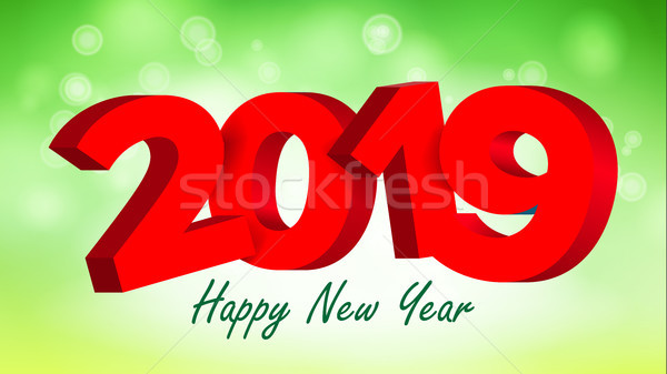 2019 3D Sign Vector. Numbers 2019 Sign. Brochure. Holiday Happy New Year Celebration Banner, Card. I Stock photo © pikepicture