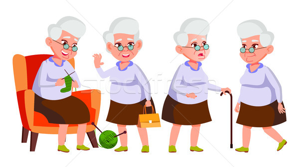 Old Woman Poses Set Vector. Elderly People. Senior Person. Aged. Funny Pensioner. Leisure. Postcard, Stock photo © pikepicture
