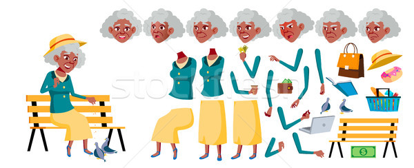 Old Woman Vector. Senior Person Portrait. Black. Afro American. Elderly People. Aged. Animation Crea Stock photo © pikepicture
