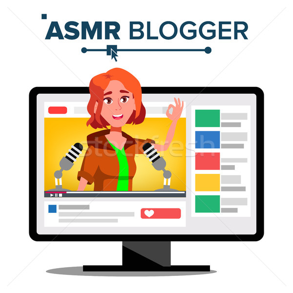 ASMR Blogger Channel Vector. Girl. Enjoying Sound. Video Blog Channel. Isolated Illustration Stock photo © pikepicture