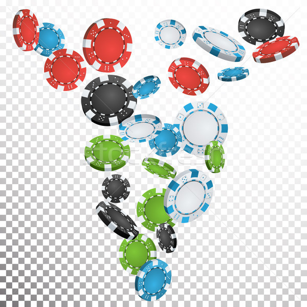 Poker Chips Rain Vector. Casino Chips Falling Down. Transparent Background. Winning Prize Money Illu Stock photo © pikepicture