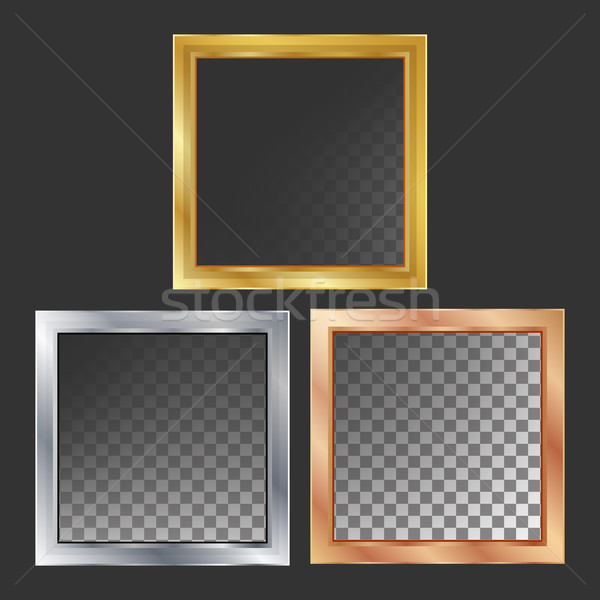 Or argent bronze cuivre métal cadres Photo stock © pikepicture