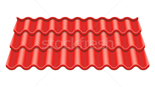 Red Corrugated Tile Vector. Element Of Roof. Ceramic Tiles. Fragment Of Roof Illustration. Stock photo © pikepicture