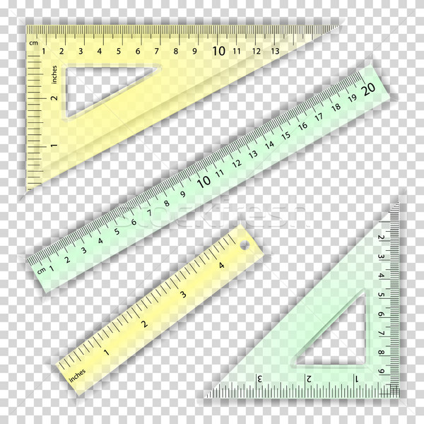Transparent Ruler And Triangles Vector. Centimeter And Inch. Measure Tool Equipment Illustration. Se Stock photo © pikepicture