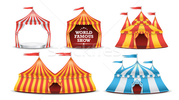 Circus Tent Set Vector. Multicolored Funfair, Carnival Holidays Concept. Illustration Stock photo © pikepicture