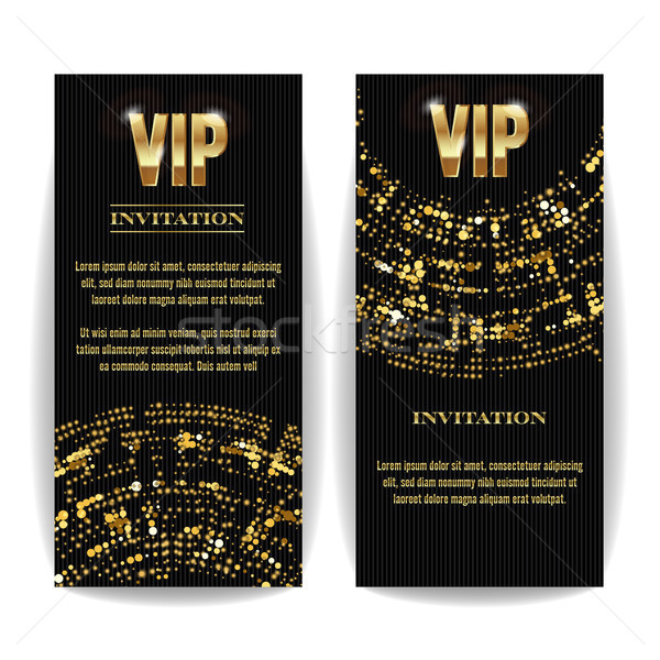 VIP Invitation Card Vector. Party Premium Blank Poster Flyer. Black Golden Design Template. Decorati Stock photo © pikepicture