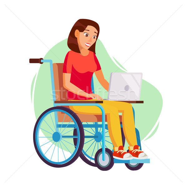 Stock photo: Disabled Woman Person Working Vector. Woman Sitting In Wheelchair. Disabled And Recovering. Flat Car