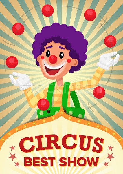 Circus Clown Show Poster Template Vector. Party Amusement Park. For Your Advertising. Illustration Stock photo © pikepicture