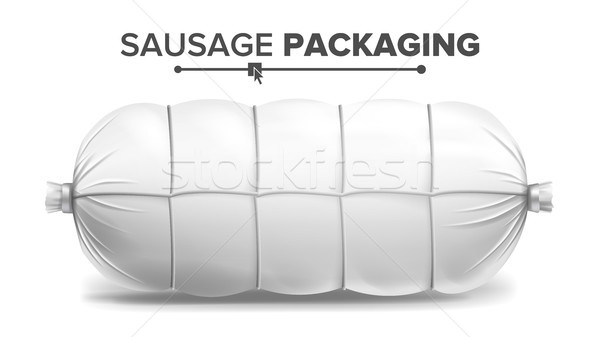 White Sausage Package Vector. White Mock Up For Branding Design. Isolated Illustration Stock photo © pikepicture