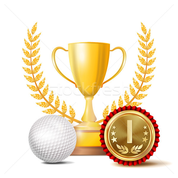Golf Achievement Award Vector. Sport Banner Background. White Ball, Winner Cup, Golden 1st Place Med Stock photo © pikepicture