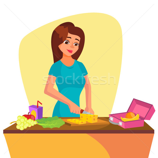 Lunch Box Vector. Young Woman Making Lunch In The Morning. Mother Making Breakfast For Children. Hea Stock photo © pikepicture