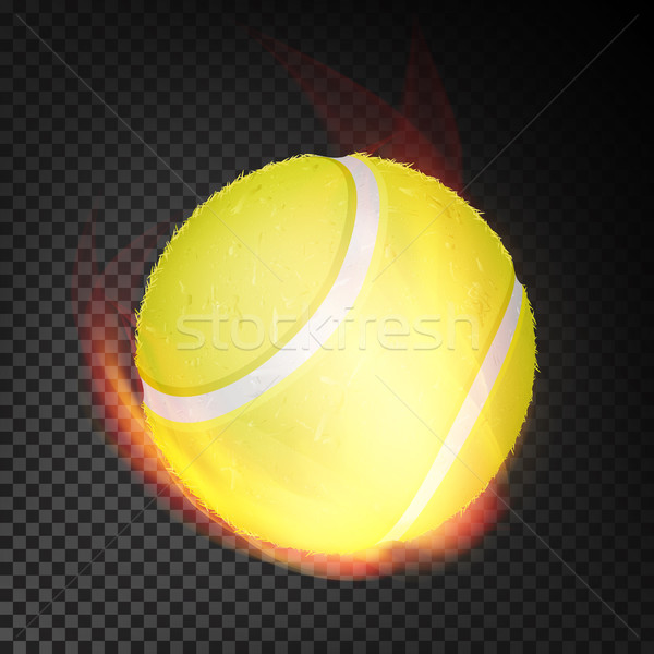 Tennis Ball In Fire Vector Realistic. Burning Tennis Ball. Transparent Background Stock photo © pikepicture