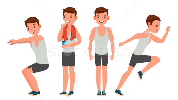 Fitness Man Vector. Different Poses. Variety Of Sport Movements. Cartoon Character Illustration Stock photo © pikepicture