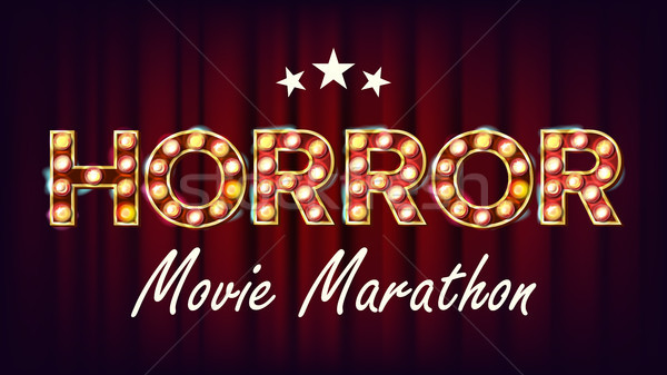 Horror Movie Marathon Background Vector. Cinema Vintage Style Illuminated Light. For Festive Adverti Stock photo © pikepicture