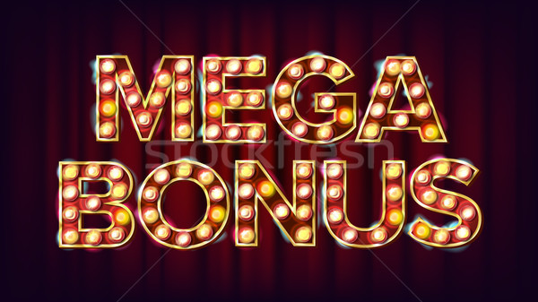 Mega Bonus Banner Vector. Casino Vintage Golden Illuminated Neon Light. For Slot Machines Signboard  Stock photo © pikepicture