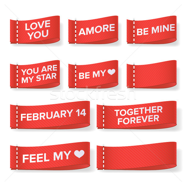 Valentine s Day Clothing labels Vector. Love You. Amore, Be Mine, You Are My Star, Together Forever, Stock photo © pikepicture