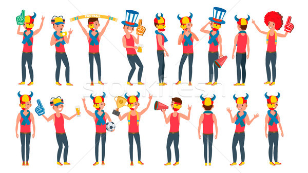 Stock photo: Sports Fan Vector. Outfits Shouting. Cheering At The Stadium. Different Poses. Isolated Flat Cartoon