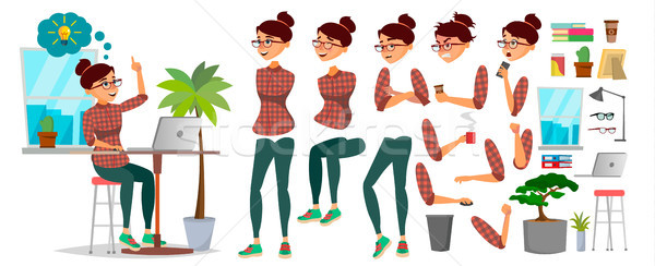 Business Woman Character Vector. Working Female. Casual Clothes. Start Up. Office. Girl Developer. A Stock photo © pikepicture