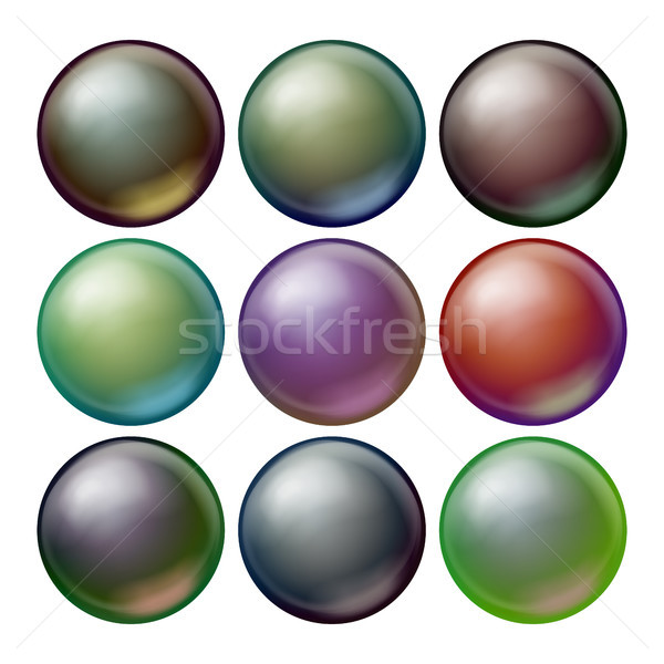 Dark Sphere Set Vector. Opaque Spheres With Shadows. Abstract Dark Ellipse, Ball, Bubble, Button, Ba Stock photo © pikepicture