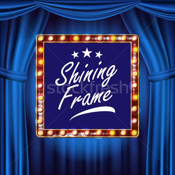 Theater Curtain, Frame Light Bulbs Vector. Blue Background. Blue Silk Textile. Shining Retro Light B Stock photo © pikepicture