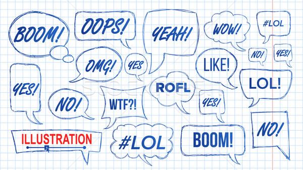 Lol Speech Bubbles Skech Set Vector. Fun Symbol. Emotion. Facial Expression. Expressions Hand Drawn  Stock photo © pikepicture