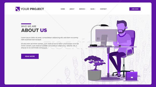 Web Page Design Vector. Business Graphic. Responsive Banner Interface. Cartoon Team. Futuristic Stra Stock photo © pikepicture