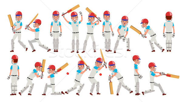 Professional Cricket Player Vector. Equipped Players. Pads, Bats, Helmet. Isolated On White Cartoon  Stock photo © pikepicture