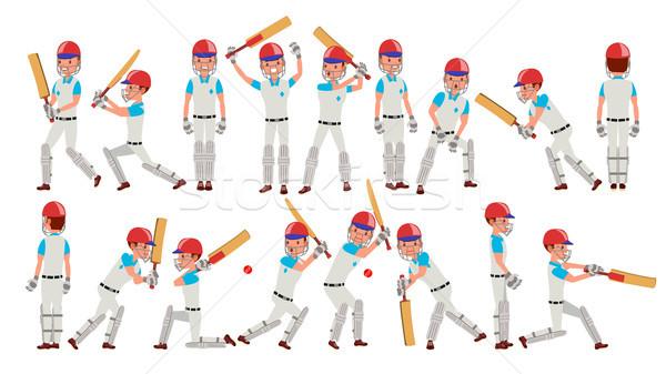 Profi krikett játékos vektor játékosok sisak Stock fotó © pikepicture
