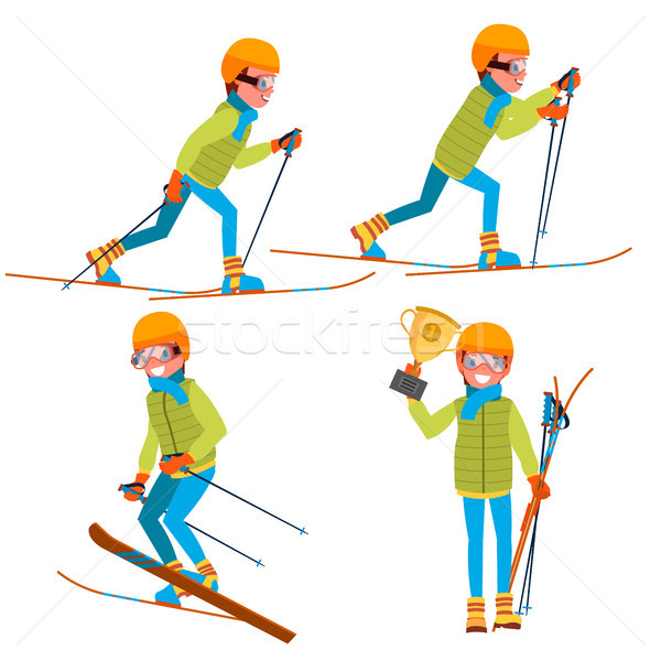 Skiing Young Man Vector. Man. Enjoying Snow Landscape. Skier And Snow. Flat Cartoon Illustration Stock photo © pikepicture