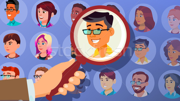 Human Recruitment Vector. Man. Business Man Picked In Recruitment. Select, Pick Up. Individual. Peop Stock photo © pikepicture