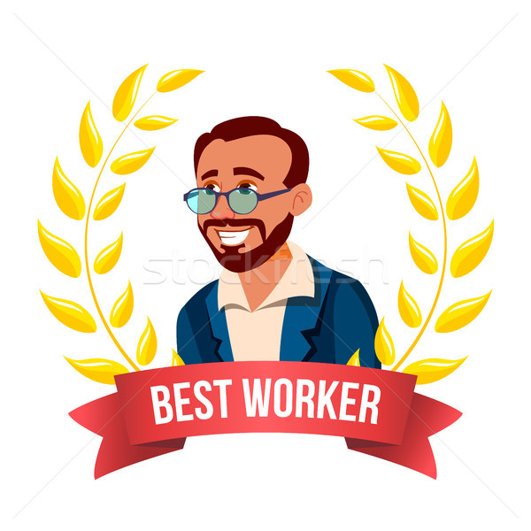 Best Worker Employee Vector. Turkish Man. Award Of The Month. Gold Wreath. Professional Goals. Victo Stock photo © pikepicture