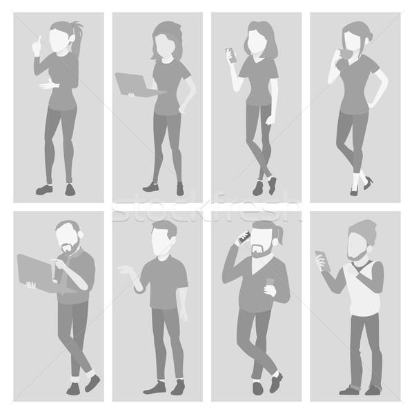 Default Placeholder Avatar Set Vector. Profile Gray Picture. Full Length Portrait. Man, Woman Photo. Stock photo © pikepicture