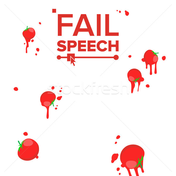 Throw Tomatoes Vector. Having Tomatoes From Crowd. Bad Luck, Mishap, Mischance, Failing Concept. Iso Stock photo © pikepicture