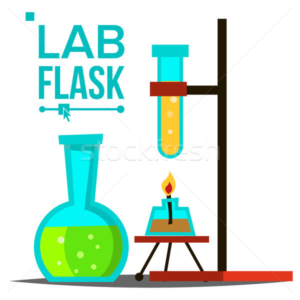 Laboratory Flask Vector. Chemical Laboratory Equipment. Glass Flask With Spirit Lamp. Science Symbol Stock photo © pikepicture