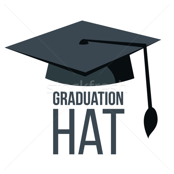 Graduation Hat Vector. Black Academic Student Cap. Education Icon. Finish Education symbol. Isolated Stock photo © pikepicture