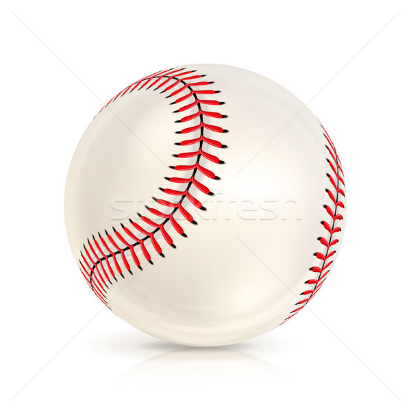 Stock photo: Baseball Leather Ball Close-up Isolated On White. Realistic Baseball Icon. Vector Illustration
