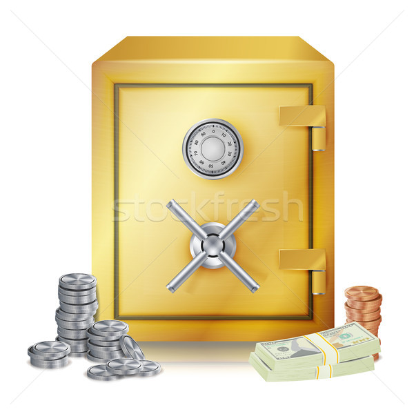 Safe And Money Stacks Vector. Metal Coins. Vector Isolated Illustration Stock photo © pikepicture